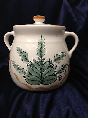 Laurie Gates Los Angeles Pottery Herbs Basil Bean Pot Or Cookie Jar Ribbon Leaf