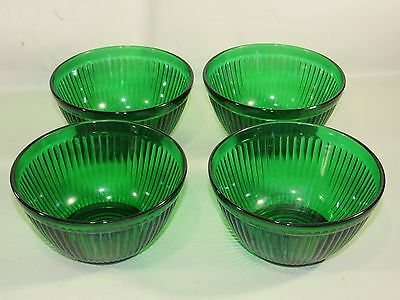 "Vintage 4pc Anchor Hocking Forest Green Batter Bowl-Ribbed 5"" wide Mixing Dishes"