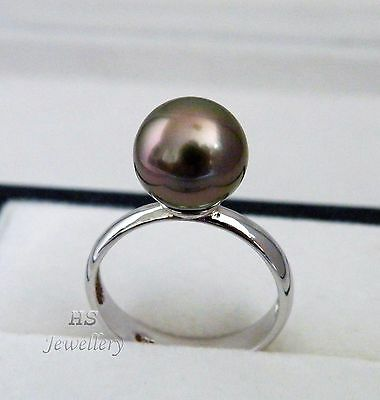 HS Tahitian South Sea Cultured Pearl 10.25mm 925 Sterling Silver Ring Top Grade
