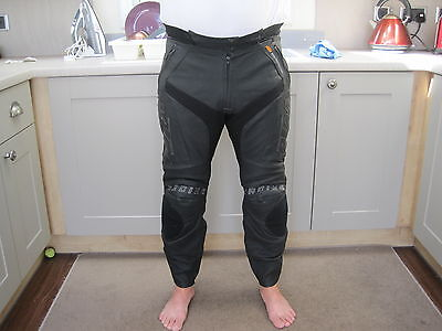 "Ktm Speed Black Leather Protective Motorcycle Trousers,pants,lrg 34"", Powerwear"