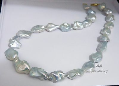 HS Rare 14.1 X 22.37mm Keshi South Sea Cultured Pearl Necklace 18 inches 18KYG