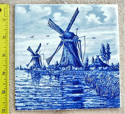 Delft Blauw Hand Painted Tile Windmills 6 x 6 inch Hallmarked Made in Holland