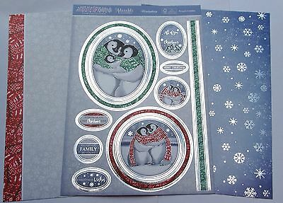 New Hunkydory 3 A4 Penguin Cuddles Toppers & Card Kit Cuddly Christmas