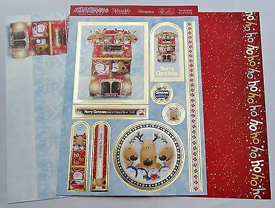 New Hunkydory 3 A4 The Christmas Bus is Coming Toppers & Card Kit Cuddly