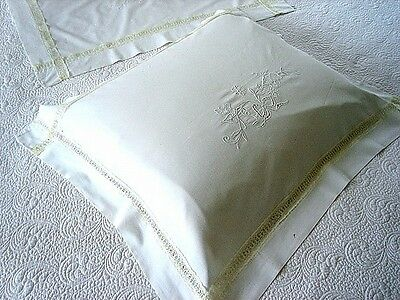 Vintage Antique Pillow Case BED RUNNER SET 2 White Embroidered Cutwork Lace PAIR
