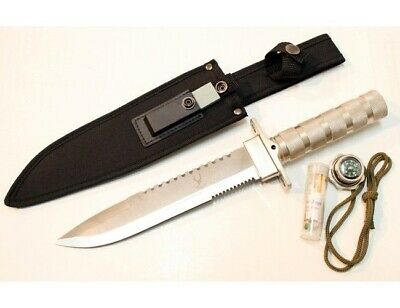 """14"""" Silver Combat Survival Kit Knife Compass Hunting Emergency Safety 5222B-SL"""