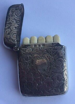 Antique Solid Silver Shooting Butt Marker Case 1845 William Oliver