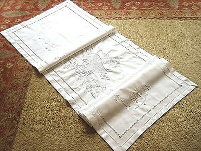 """Vintage Antique Pillow Case BED RUNNER White Crisp Embroidered Cutwork Lace 80"""""""