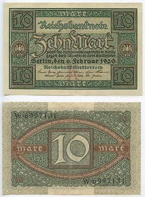 GB492 - Banknote Deutsches Reich 10 Mark 1920 Pick#67a