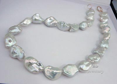 HS Rare Keshi South Sea Cultured Pearl 14.1X22.64mm Necklace 17 3/4 inches 18KYG