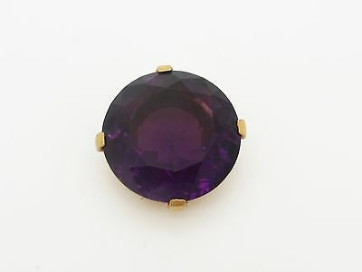 Beautiful Old Gold Tone Fur Clip with Huge Purple Rhinestone Solitaire