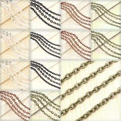 4m Open Link Unfinished Flat Cable Chain Bulk Necklace Jewellery Makings DIY YB