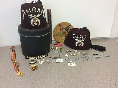 Huge Masonic Lot. Hats, Pins, Colonial Knife, Patches. Other. Vintage Estate Lot