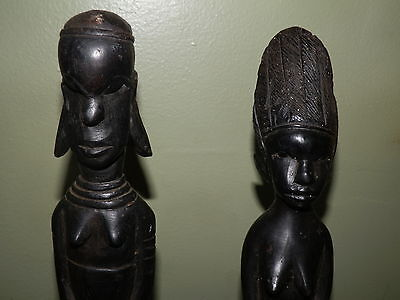 2 Vintage Wooden Hand Carved African Table Statues Figures Abony Wood 14""