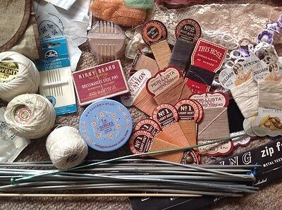 Job Lot Vintage Needlework Items Stocking Mending Silk, Pins, Knitting Needles,