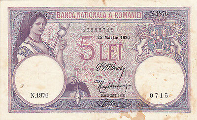 5 Lei Very Fine Banknote From Kingdom Of Romania 1920!pick-19!