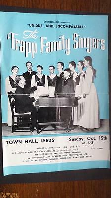 Concert Flyer Trapp Family Singers Leeds c 1950 (Julie Andrews Sound of Music) *