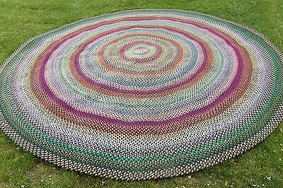 Vintage American Hand Braided Laced Wool Area Rug Room Size 11 Feet Round Beauty