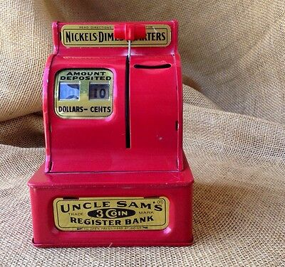 Vintage Mechanical Bank Uncle Sam's 3 Coin Register Toy Mid Century American Red