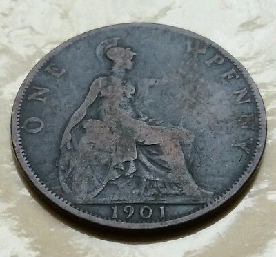 1901 - Copper - One Penny - Great Britain - Victoria - English UK Coin