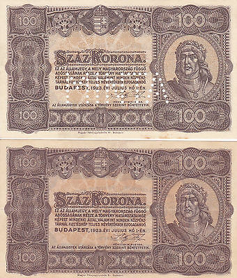 2X100 Korona From Hungary 1923!! Unc Specimen +Ef Issued Banknote!pick-73S-73