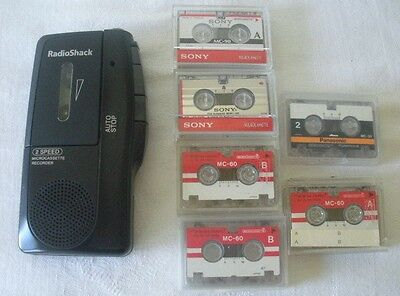 Radio Shack 14-1148 2-Speed MicroCassette Dictation Recorder w/6 Tapes