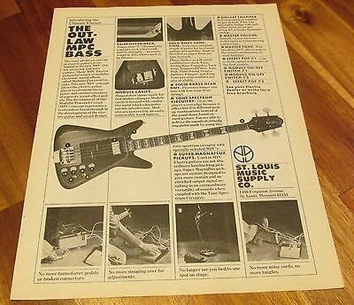 Electra The Out-law bass Guitar 1976 Pinup Ad