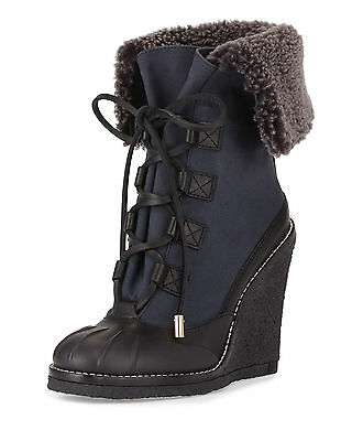 Tory Burch Fairfax Navy Charcoal Wedge Lace Up Ankle Boots, Women Size 7, $450