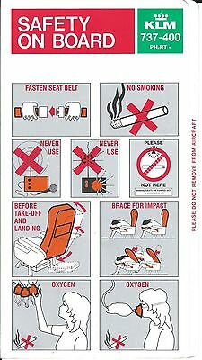 Safety Card - KLM - B737 400 - Specific to PH-BTx Registered A/C - 1994 (S3779)