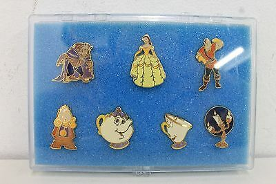 7 x DISNEY Beauty And The Beast Cast Character Pin Set Collection In Case