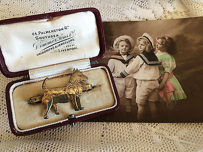 Antique Vintage Edwardian Hand Made Gold Tone Terrier Small Dog Brooch Pin Badge