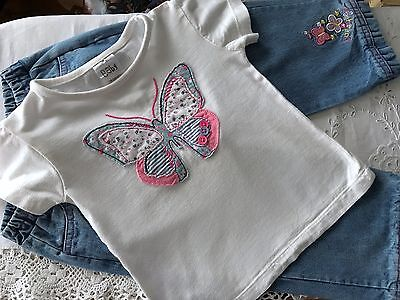 Baby girls 18-24 months jeans and short sleeved t-shirt / top