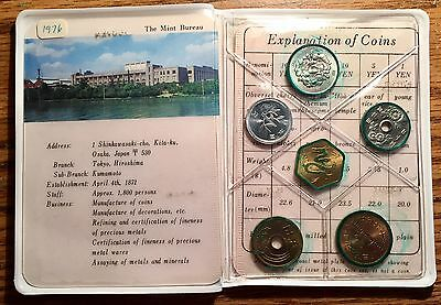 1976 Japan 5 Coin Mint Set - Ministry of Finance Uncirculated Condition KM# MS 6