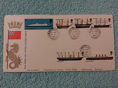 FIRST DAY COVER BRITISH SHIPS, 15th JANUARY 1969, DORSET HANDSTAMP