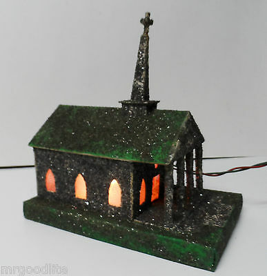 Very Old Under The Christmas Tree Lighted Church House - M&K Products Ohio