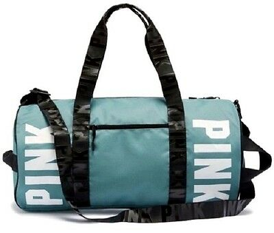 Nwt Victorias Secret PINK Large Logo Duffle Bag Weekender Gym Bag Blue