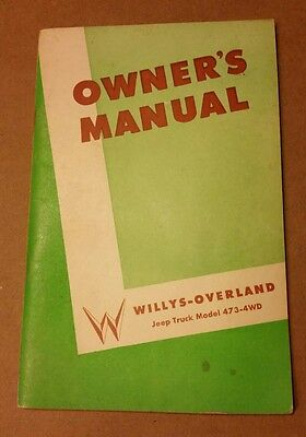 WILLYS JEEP TRUCK 4WD OWNERS MANUAL 1952 50s