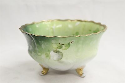 Antique German Porcelain 3 Footed Snowball Flowers Fluted Painted Bowl