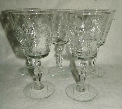 5 Libbey Rock Sharpe Glamour Water Goblet Glasses Set 3006 Flower Arch Free Ship