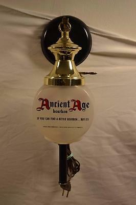 RARE Vintage Ancient Age Kentucky Bourbon Hanging Sconce Light w GLASS GLOBE