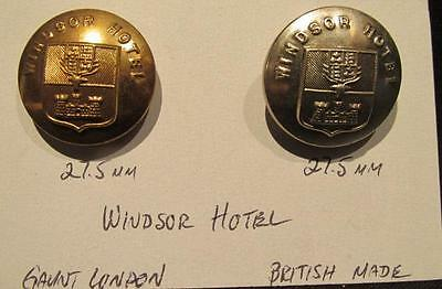 Windsor Hotel Pair of Vintage 27.5MM Brass & Silver Tone Uniform Buttons
