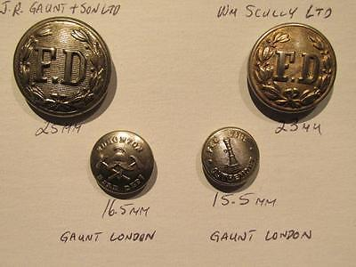 Fire Departments Selection of 4 Different Silvertone Uniform Buttons