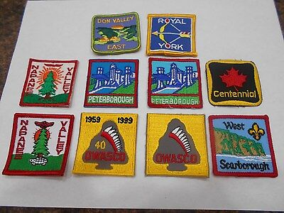 (Yp4-R) Ten Different Unused Listed Ontario Scout Badges