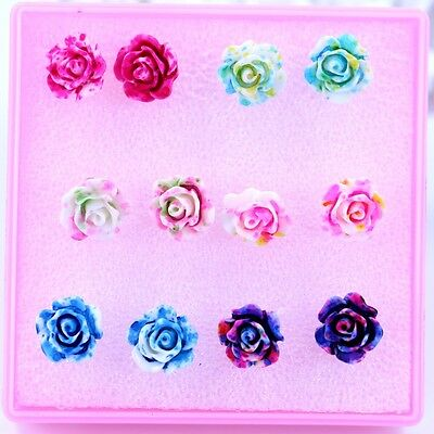 lots mixed 6pairs 1box Resin color Rose Flower Design Anti-allergy stud earrings