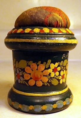 "Antique Victorian 3"" Hand Painted Turned Wood Needle Case/Box w Pincushion"