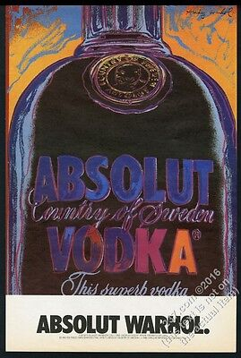 1986 Absolut Warhol Andy Warhol vodka bottle art BIG poster-sized print ad