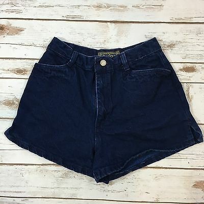 "Vintage 90s Bonjour Dark Blue Denim High Waisted Mom Jean Shorts 7/8 / 25"" Waist"
