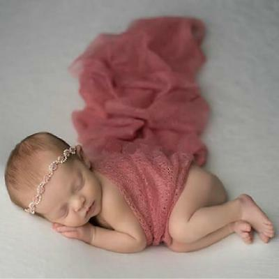 Baby Photography Props Blanket Stretch Knit Wraps Newborn Photo Swaddlings -SUN