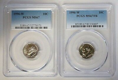 1996-W 10C Roosevelt Dime PCGS MS67 & MS67FB Full Band 2 Coin Set