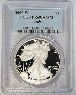 2007 W $1 American Silver Eagle 1 oz Proof PCGS PR69DCAM Light Spots